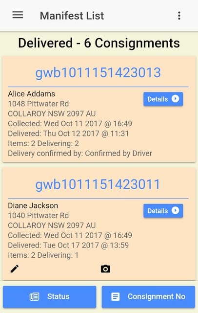 Locating undelivered items on the Manifest List