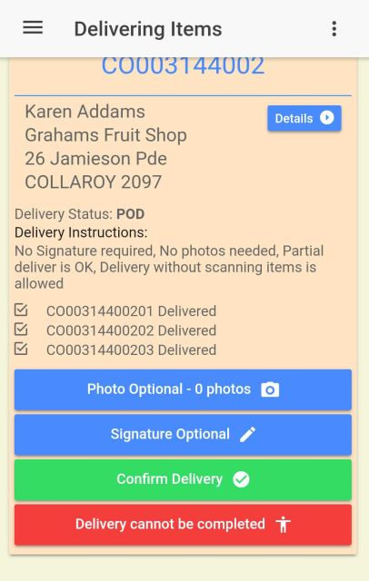 You can confirm a delivery if photos and signature are optional, without collecting a POD for the delivery.
