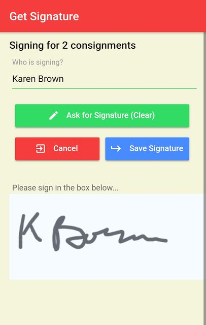 Signing for multiple deliveries