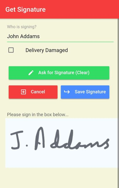 Getting a signature for delivery