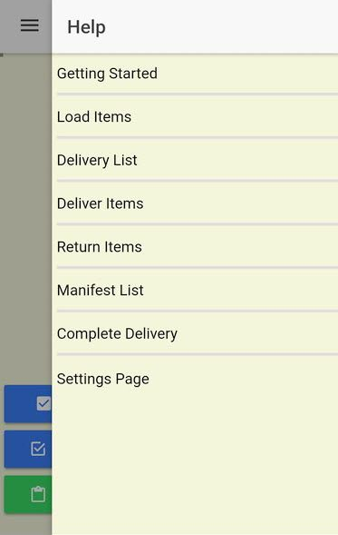 The Help Menu provides the driver with specific help for each delivery function