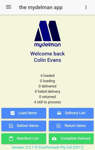 The Home Page of the mydelman Android app provides the driver with a summary of their deliveries and access to all delivery functions